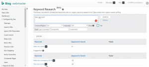 bing keywords research seo tool