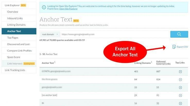 export anchor text